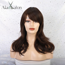 ALAN EATON Mix Brown Wavy Side Part Wigs with Bangs Women Me