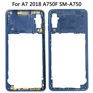 Image 3 - لسامسونج غالاكسي A7 2018 A750 عودة غطاء البطارية الإطار الأوسط سيم بطاقة استبدال جديد A750 كامل مقصورة البطارية المنزلية