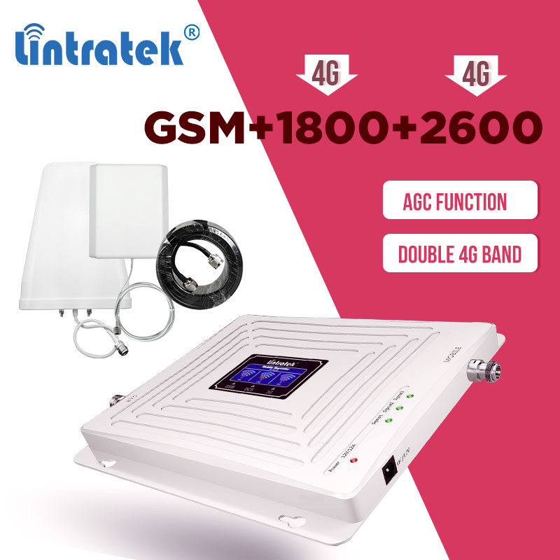 Lintratek 900 1800 2600mhz GSM 2G 3G 4G Repeater Cellular Amplifier GSM 900mhz DCS 1800mhz LTE 2600mhz  Signal Booster Set AGC 7