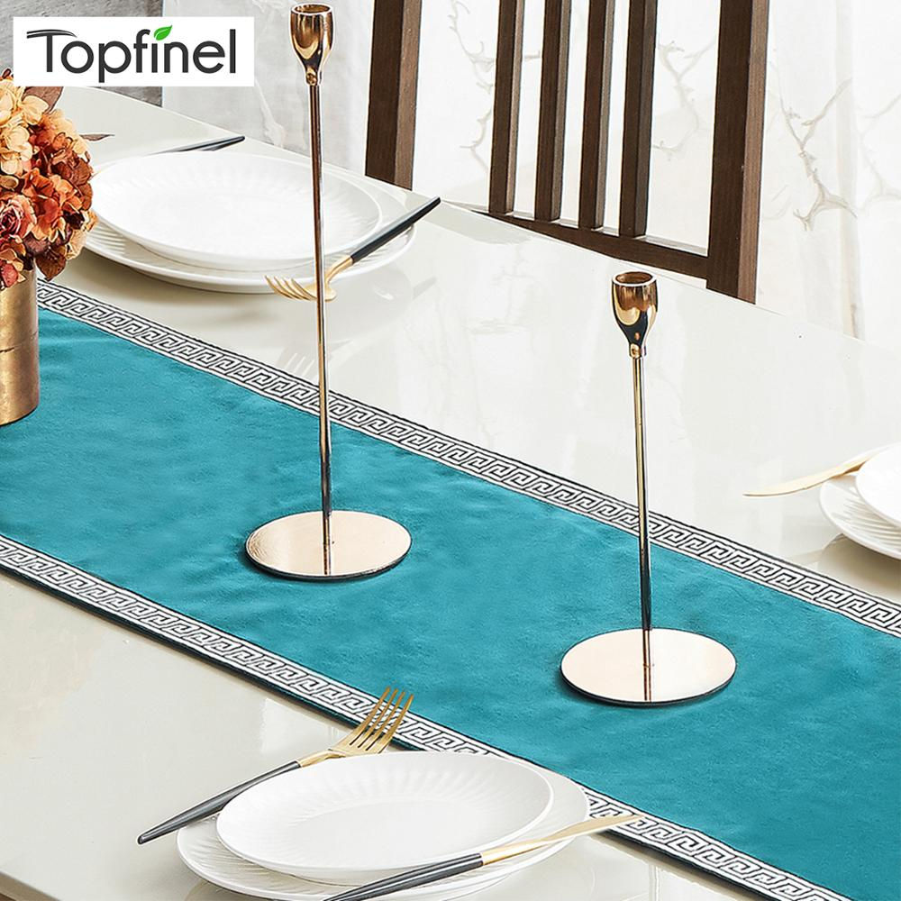 Topfinel Table Runners Modern Geometric Luxury Bed Runner Cloth Rectangle Soft Dining Table Decoration For Wedding Party
