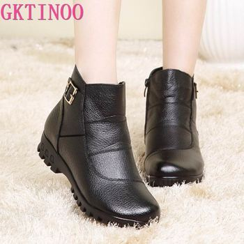 2021 Fashion Winter Boots Women Genuine Leather Flat Ankle Warm Woman Snow Comfortable Plus Size Shoes - discount item  30% OFF Women's Shoes