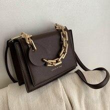 Kobiet małe luksusowe marki gruba torba typu Crossbody z łańcuchem dla czarne damskie torebki na ramię 2021 zima skórzane torby