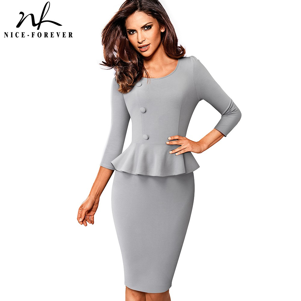 Nice forever Elegant Solid Color Wear to Work with Button Peplum vestidos Business Office Party Bodycon