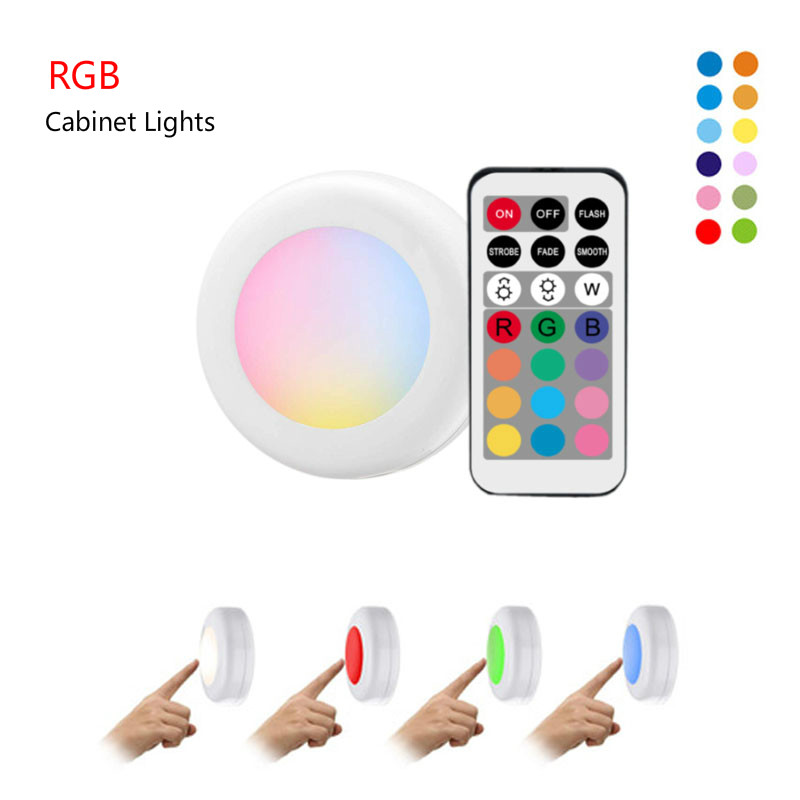RGB Under Cabinet Light Led Closet Light Wireless Dimmable/Touch Sensor  Color LED Night Lamp For Bedroom Living Room Kitchen