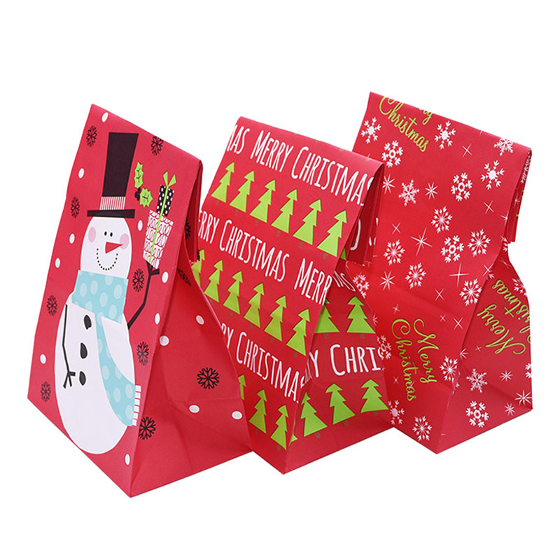 5Pcs Snowflake Merry Christmas Paper Bag Snowman Food Cookie Christmas Gift Packing Bag Birthday Party Favor New Year Gift Bags