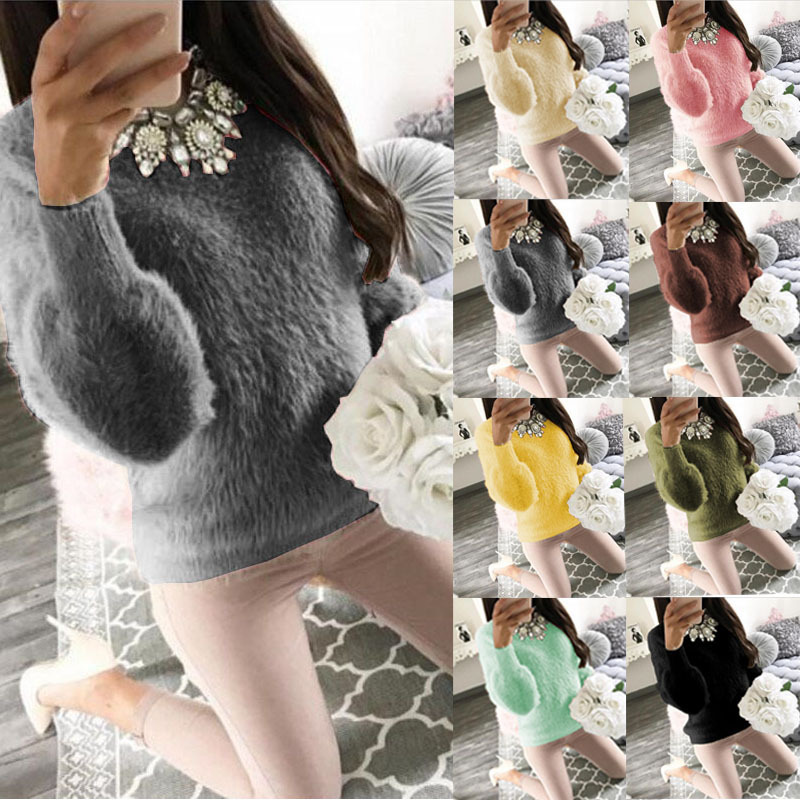 2020 Autumn And Winter Hot Selling Long Sleeves Sexy Furry Sweaters (10-Color 6 Code)