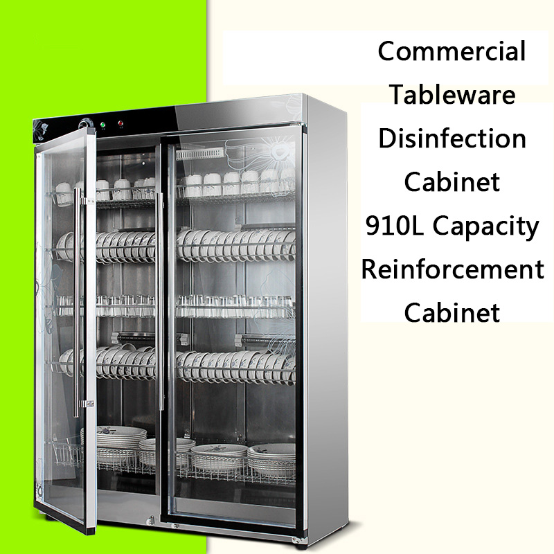 Double Door Vertical Commercial Disinfection Cupboard Kitchen Low Temperature Disinfection Cabinet Ozone