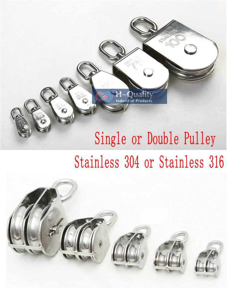 HQ Lifting Wire Rope Chain Pulley Stainless Steel 304 Or Marine 316 M15-M100 Eye Swivel Sinlge Pulley Double Sheave Pulley Block