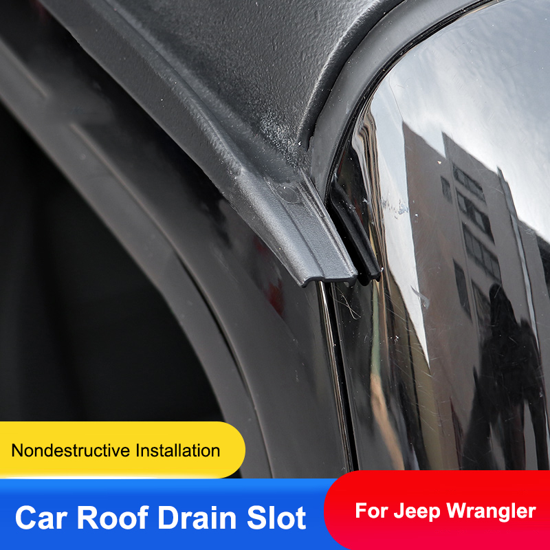 QHCP Car Roof Drain Slot Rainwater Diversion Through Assist Extension Drainage Distance ABS 1Pair For Jeep Wrangler JL 2018 2019