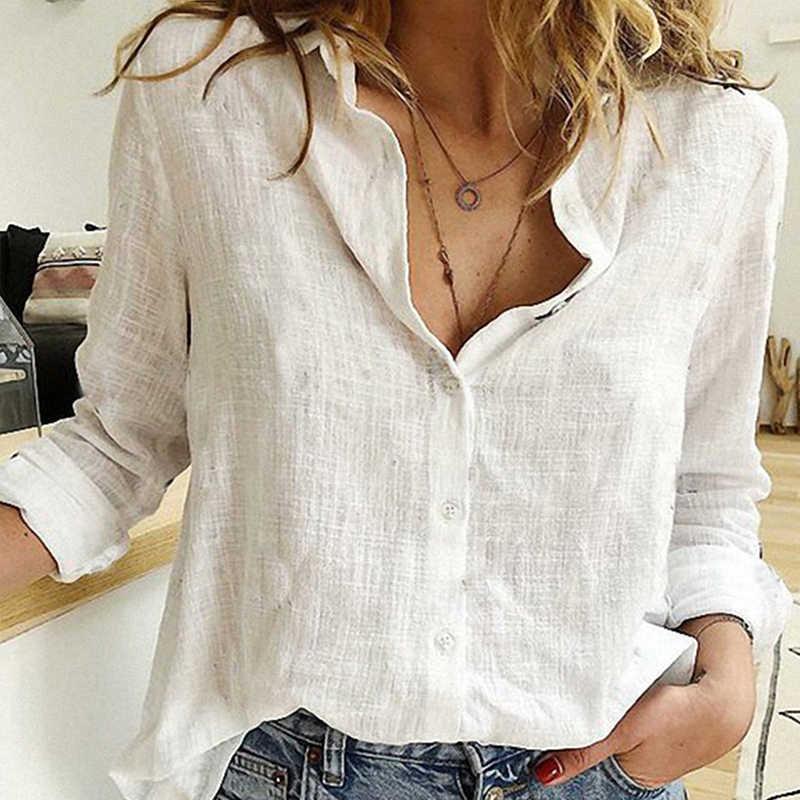 Vải Lanh Cotton Nữ Vững Chắc Của Áo Sơ Mi Mùa Xuân 2020 Thu Giải Trí Áo Sơ Mi Nút Cổ V Cardigan Đầu Dài Tay Áo plus Kích Thước
