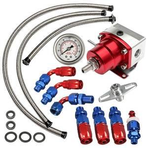 Image 1 - Universal Adjustable Fuel Pressure Regulator Oil 160psi Gauge AN 6 Fitting End Oil Gauge Hose Fitting Kit