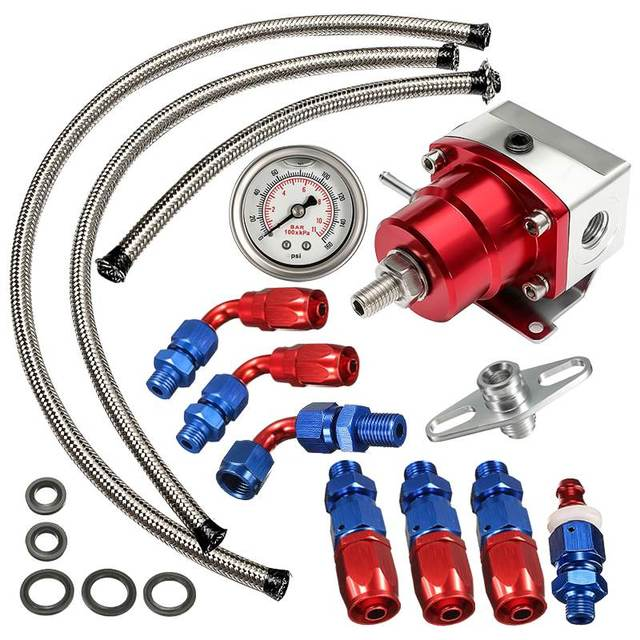 Universal Adjustable Fuel Pressure Regulator Oil 160psi Gauge AN 6 Fitting End Oil Gauge Hose Fitting Kit
