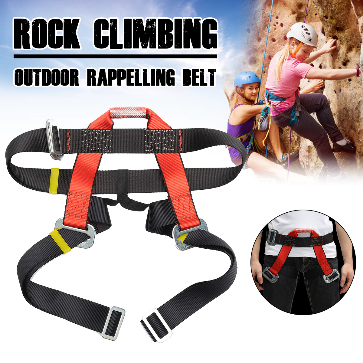 Outdoor Climbing Harness Safety Belt Half Body Protecting For Rock Climbing Downhill Harnesses Rappel Belt Climbing Equipment