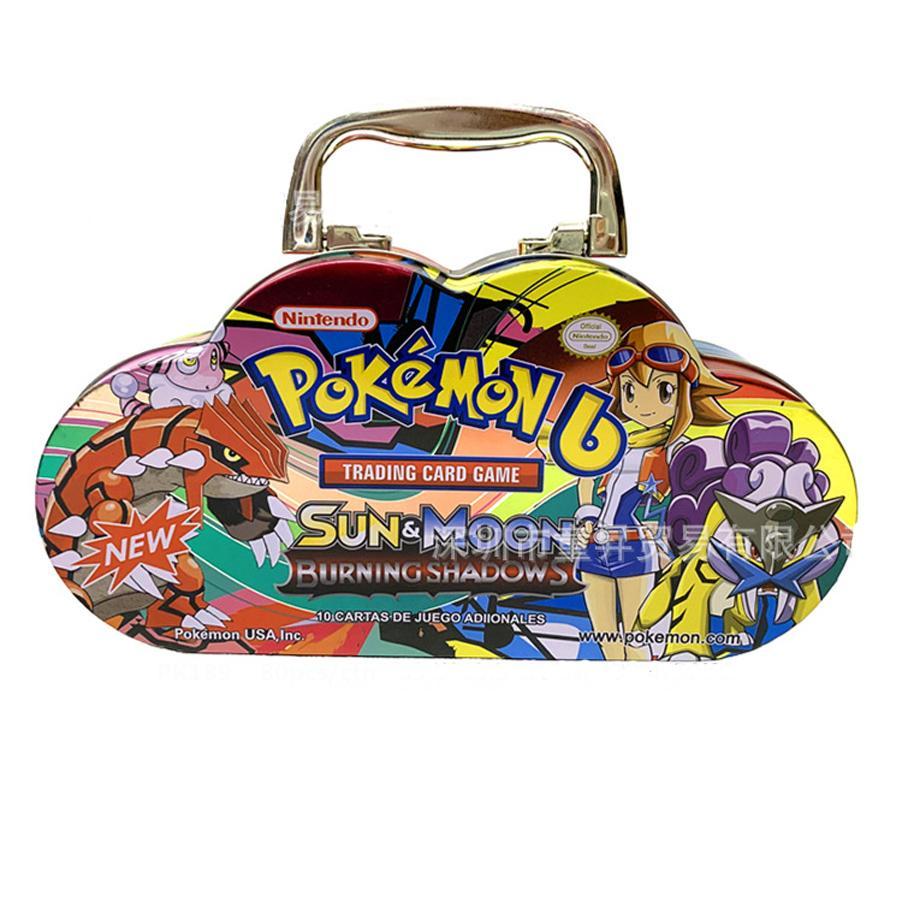 102 pièces/ensemble Pokemon Portable boîte en fer blanc TAKARA TOMY bataille jouets loisirs passe-temps à collectionner jeu Collection Anime cartes pour enfants