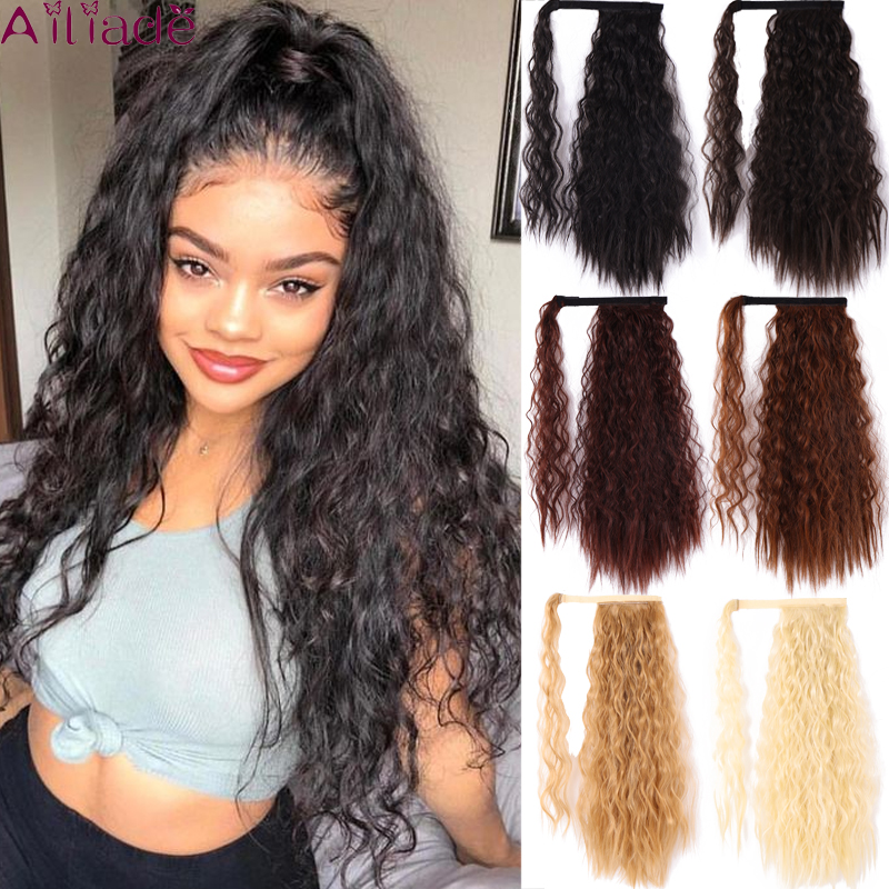 AILIADE Black Brown Long Corn Wavy Synthetic Ponytail Wrap Around Clip In Ponytail Hair Extensions Heat Resistant Hair Tail