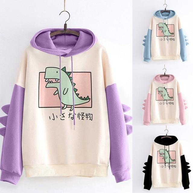 Fashion Women Sweatshirt Casual Print Long Sleeve Splice Dinosaur hoodies Sweatshirt Tops ropa mujer толстовка женская 5