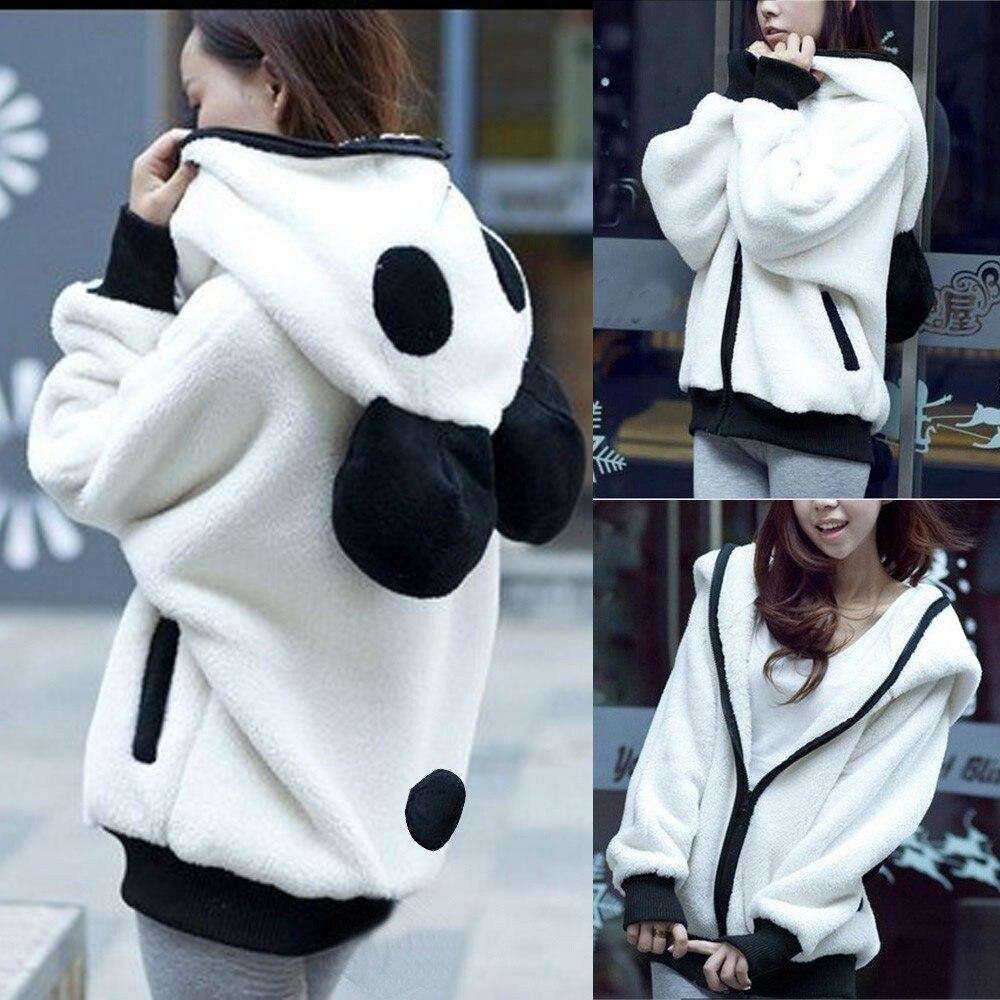 Women Coats Cute Bear Ear Panda Autumn Winter Warm Plush Sweater Coat Women Panda Jacket Outerwear Overcoat #45