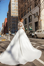 Vivians Bridal Modern High Neck Rectiva Satin Dress Elegant Lace Appliques Button Illusion Sleeve Chapel Train