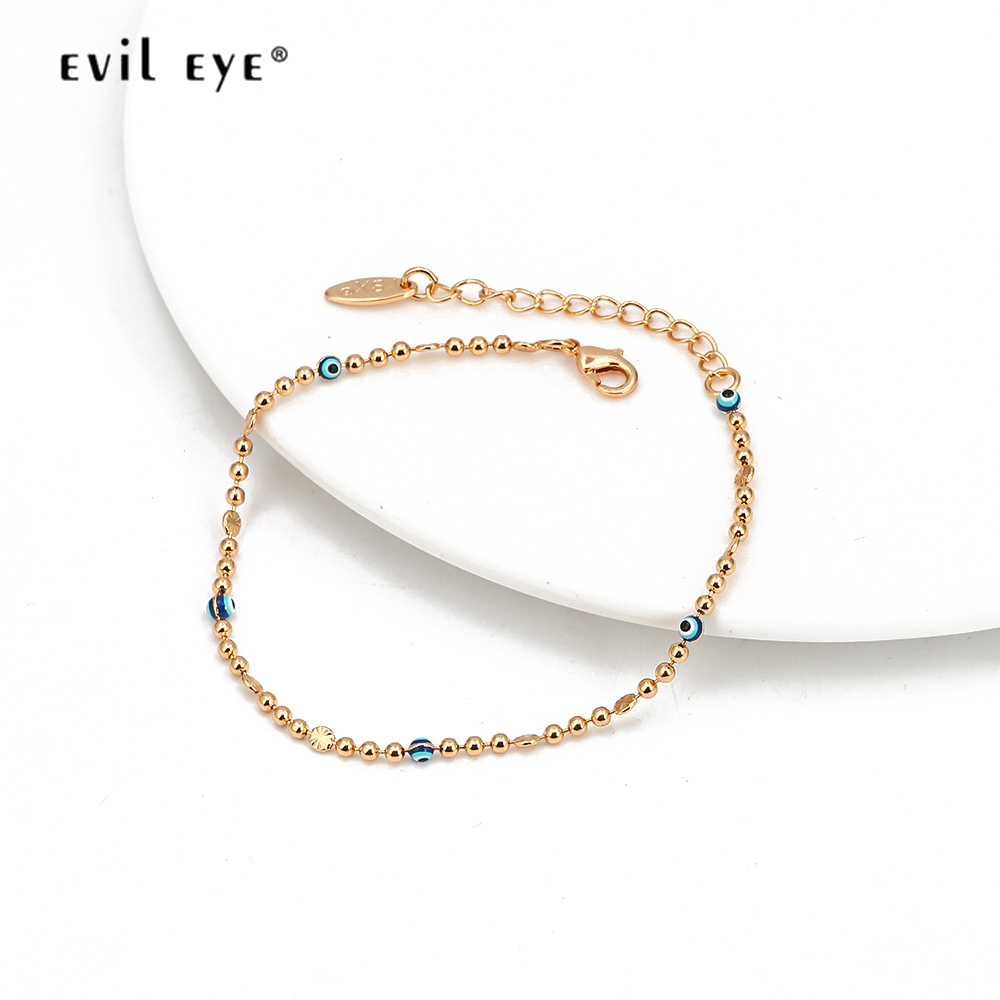 EVIL EYE Alloy Bead Blue Turkish Eye Anklet Gold Silver Color Foot Chain Ankle Bracelet Adjustable Jewelry for Women Girls BD319