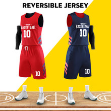 Maillots de basket-ball réversibles Double face uniforme de basket-ball personnalisé numéro d'impression Logo maillot basket-ball L-6XL vêtements de sport(China)