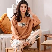 Осенне зимние пижамы из чистого хлопка штаны с длинными рукавами