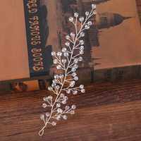 ACRDDK Kristall Blatt Handgemachte Haar Kämme Schmuck Perle Perlen Tiara Braut Kopfstück Frauen Hochzeit Haar Schmuck Zubehör SL