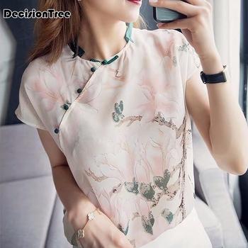 2020 chińskie bluzki malowane kwiaty qipao bluzka cheongsam koszula w stylu chińskim cheongsam bluzka tradycyjna chińska odzież damska tanie i dobre opinie DecisionTree Rayon Poliester CN (pochodzenie) WOMEN Szyfonowa
