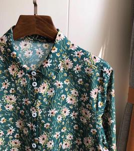 Image 5 - Woman Shirt Green Floral Cotton Silk Shirt Spring New Romantic Soft Long Sleeve Shirt