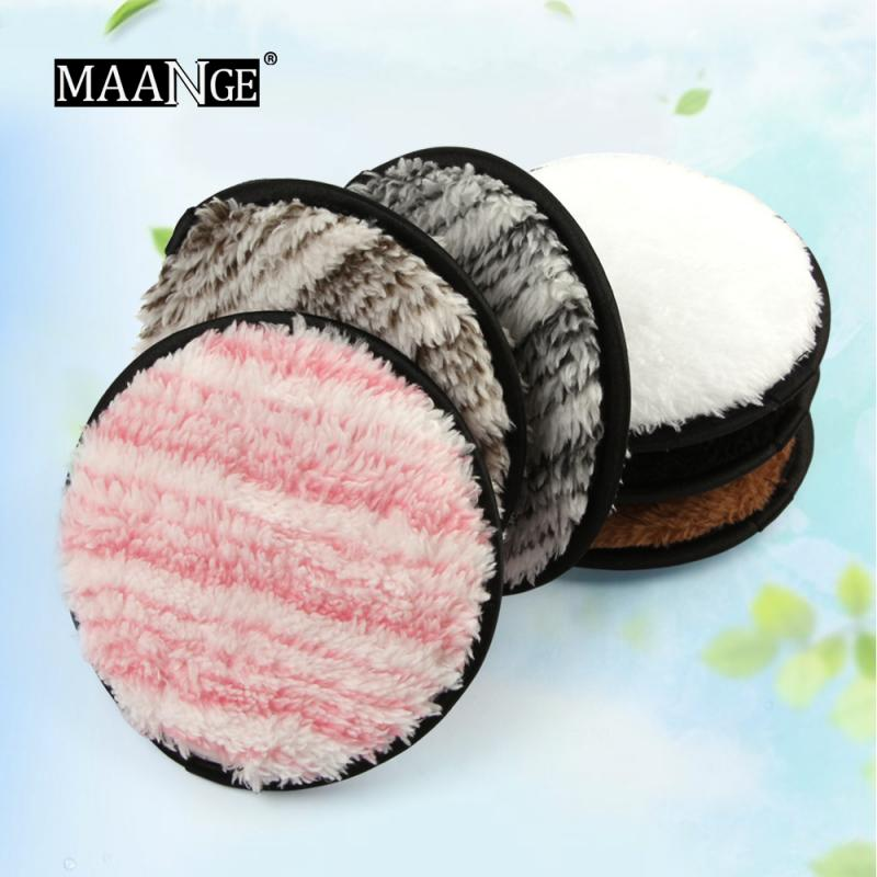 MAANGE Microfiber Face Cleaner Cosmetic Puff Makeup Remover Plush Puff Cleansing Cloth Pads Makeup Beauty Facial Powder Puff