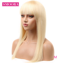 Honey Blonde Human Hair Bangs Wigs 613 Blonde Full Machine M