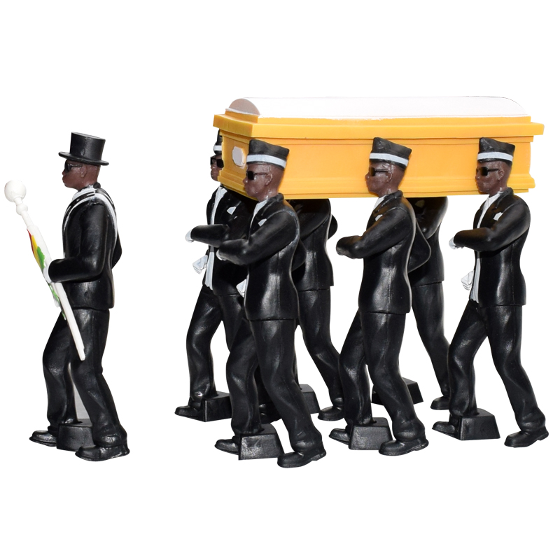 6pcs/8pcs PVC Cosplay Ghana Dancing Pallbearers 10cm Coffin Dance Figure Action Funeral Dancing Team Display Funny Toy dropship