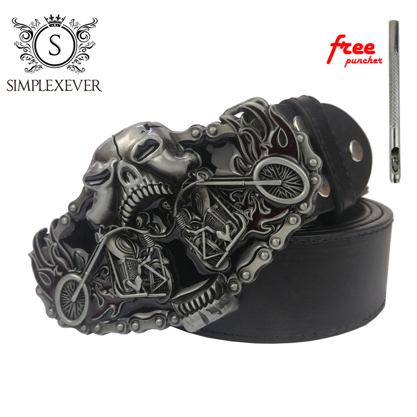 Belt Buckle Accessories For Women Skull Motor Design Men's Belt Buckles In Silver Plating Dropshipping