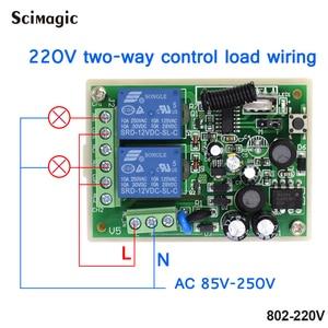 Image 3 - 433Mhz Remote Control Switch for Light Door Garage Gate Remote AC 85V ~ 250V 110V 220V 2CH Relay Receiver and Controller
