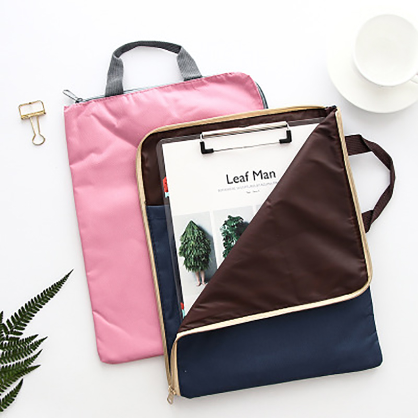 Waterproof Canvas File Folder A4 Paper Organizer Document Storage Zipper Bag Stationery Student Supplies Portable Laptop Holder