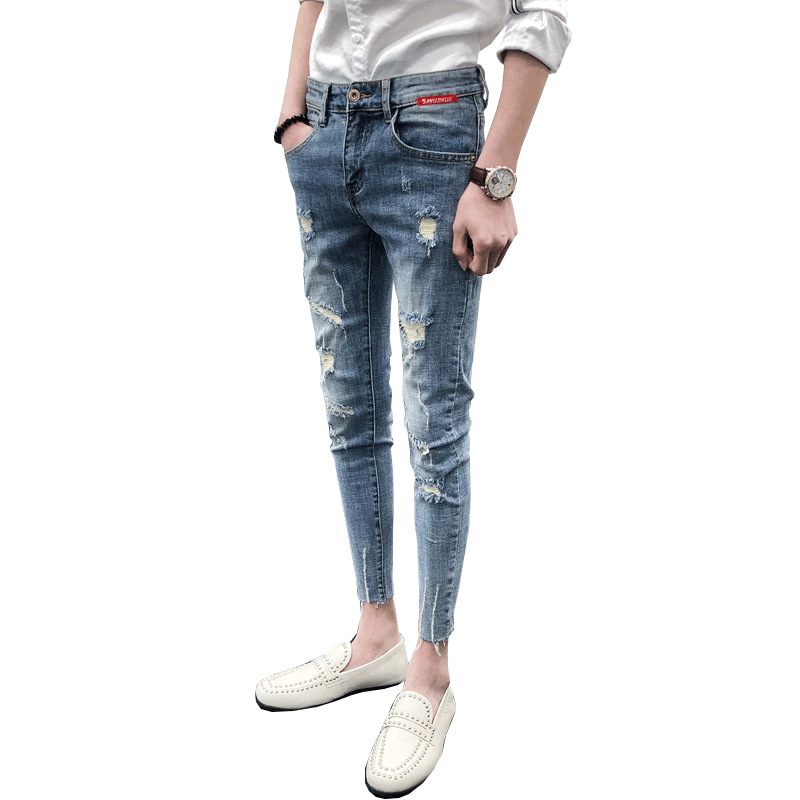 Hot 2019 Summer Smashing Ripped Hole Skinny Jeans Men Denim Teenagers Hip Hop Casual Stretch Social Feet Pants Black Jean Hombre