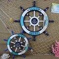 Grande tamanho 62 cm mediterrâneo náutico decoração barra parede pendurado marinha/navio leme grande leme de madeira mural leme de madeira