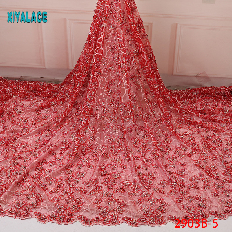 2019 African Lace Embroidered High Quality Switzerland Lace Beads Lace Petals Net Fabric French Bridal Lace For Dress YA2903B-5