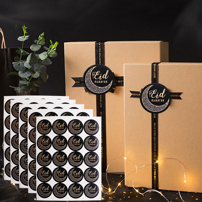 60/120pcs 4style Black Ramadan Eid Stickers Eid Mubarak Gift Box Label Paper Bag Seal Sticker Ramadan Kareem Al-Fitr Decoration