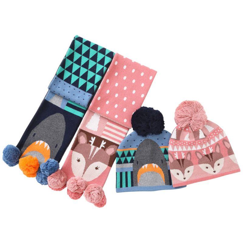 Christmas Children Scarf Hat Toddler Kids Winter Knit Pompom Beanie Cap Long Scarf Shark Deer Cartoon Warmer