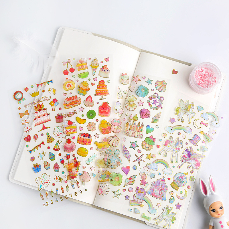3pcs Korean Cute Stickers Stamping Transparent DIY Diary Hand Book Material Decoration Paste Children's Small Stickers Creative