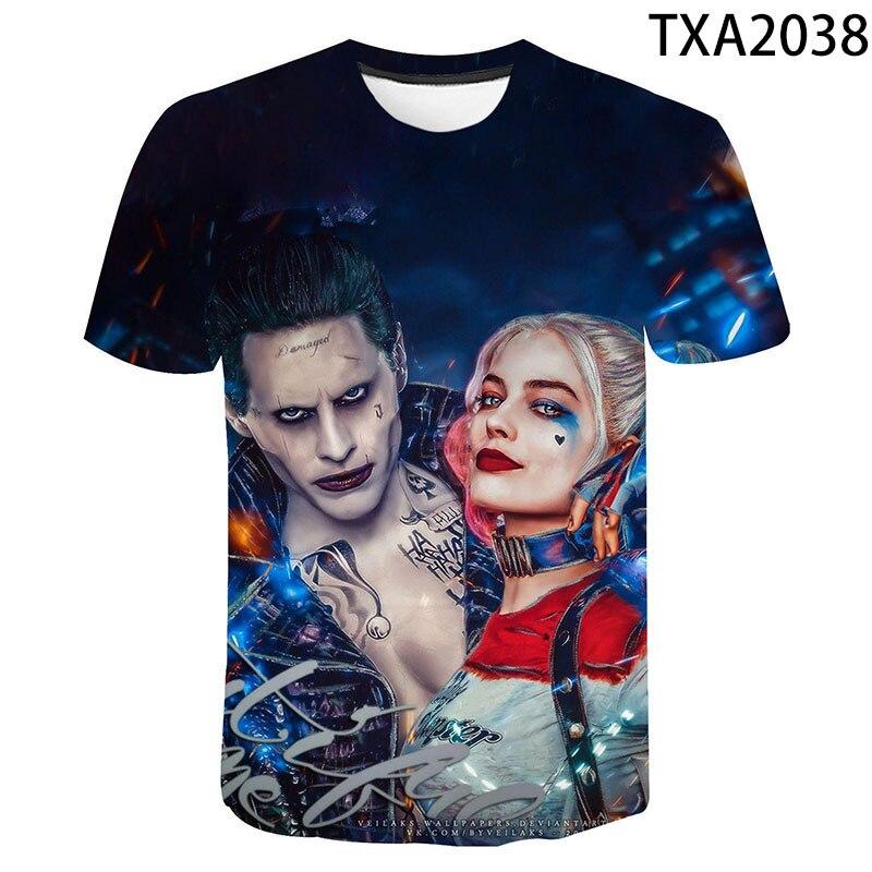 Ainiel Birds Of Prey T Shirt Suicide Squad 3D Print Clown Harley Quinn Tshirt Joker Summer T-Shirt Men Women Children Cool Tee