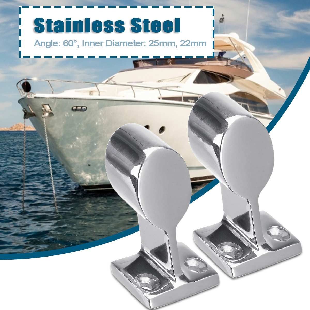 Audew Durable Boat Tube Pipe Base 316 Stainless Steel Marine 60° Railing Handrail Pipe Base Fitting Support Reusable Hardware