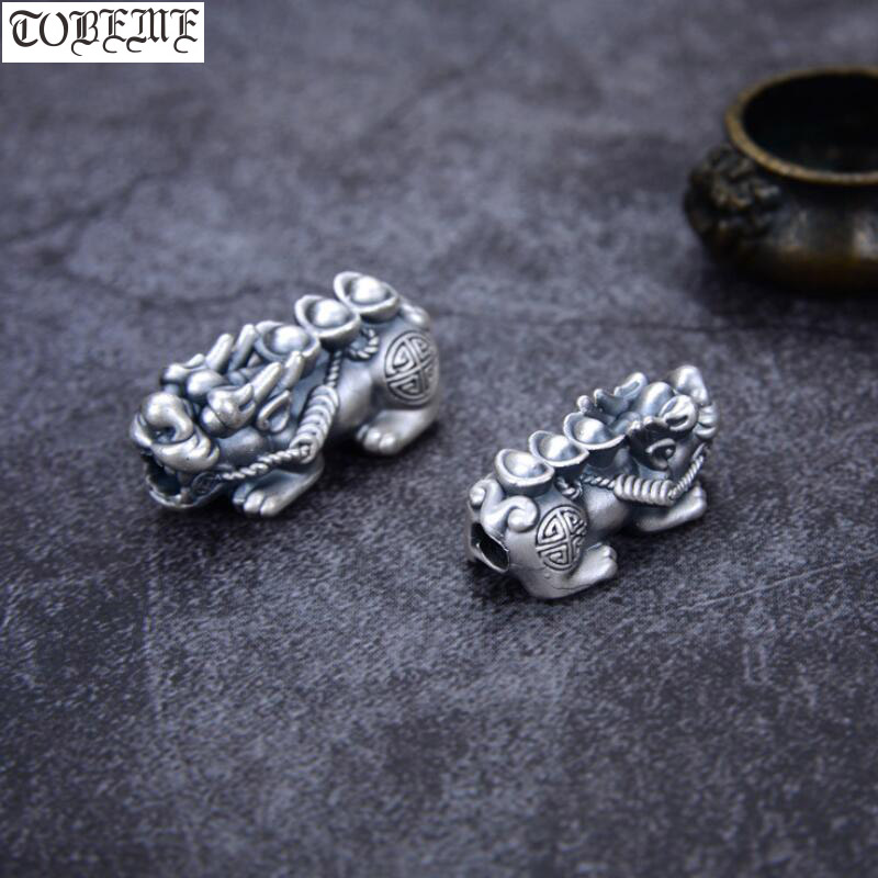 100% 3D 999 Silver Pixiu Beads Vintage Silver Fengshui Piyao Beads Good Luck Jewelry Loose Beads DIY Bracelet Lucky Animal
