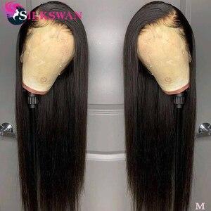 Em linha reta 13x4 perucas dianteiras do laço 30 32 34 36 38 40 polegadas longo silkswan brasileiro remy peruca de cabelo humano do bebê densidade de cabelo 150% 250%