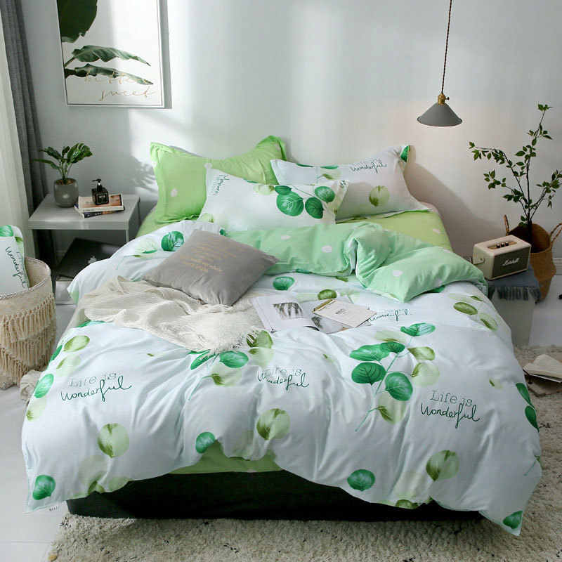 Nordic Green Plant Flower Printed 4pcs Bed Cover Set Cartoon Duvet Cover Bed Sheets And Pillowcases Comforter Bedding Set 61001