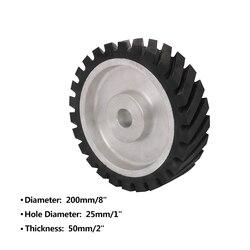 200mm Diagonal Gummi Kontaktieren rad Bohrung 25mm Gürtel Grinder Rad Schleif Gürtel Set Dicke 50mm