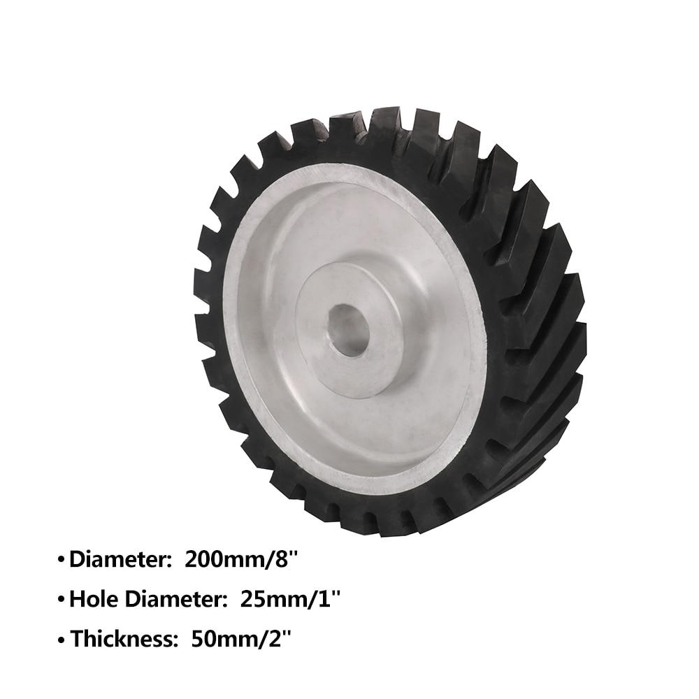 200mm Diagonal Rubber Contact Wheel Bore 25mm Belt Grinder Wheel Abrasive Belt Set Thickness 50mm