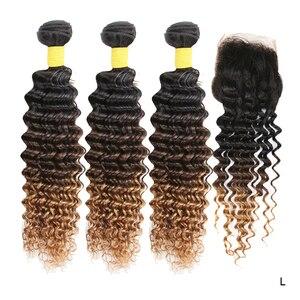 Ombre 100% Real Human Hair Remy Deep Wave Bundles with Closure Weave T1B 4 30 Bundles with Closure Hair Extensions Peruvian Hair(China)