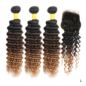 Ombre Human Hair Bundles with Closure 3 Tone Color Deep Wave with Closure T1B/4/30 Brazilian Remy Hair Weave Extensions 150%(China)