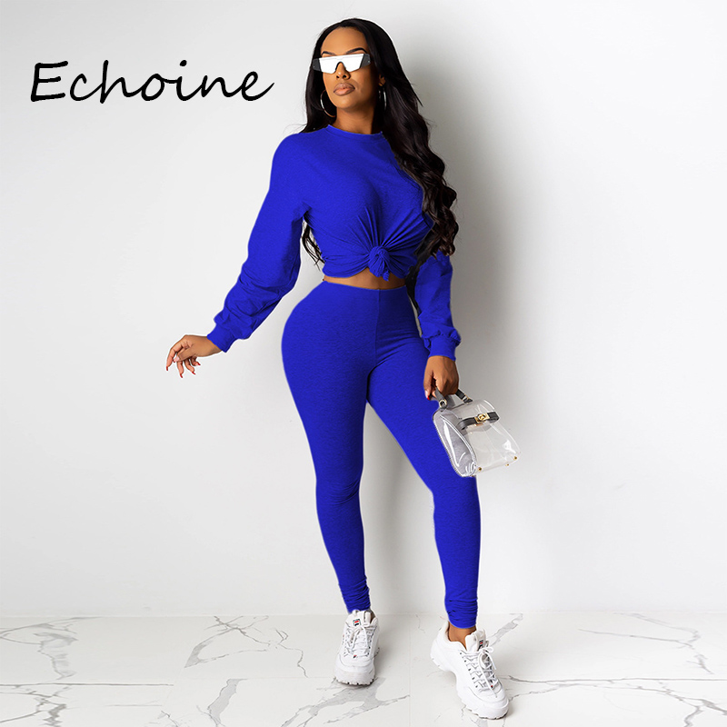 Casual Women Two Pieces Jogging Femme  Long Sleeve Sportwear Tracksuit Women O-neck Crop Top + Long Pants Suit 2019 Autumn